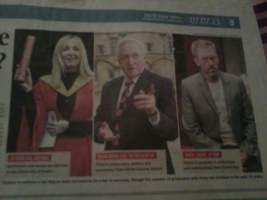 Examples of lower degree class graduates: J.K. Rowling, David Dimbleby, and Hugh Laurie - from The Sunday Times 7/7/13