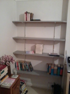 Empty freshly painted shelves